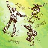 Hand drawn skateboarders. Collection. Hand drawn skateboarders. Vector collection of skateboarders on grange background for your design Royalty Free Stock Photo