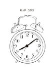 Hand drawn sketch alarm clock.Vector Royalty Free Stock Image