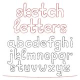 Hand drawn sketch alphabet. Royalty Free Stock Image