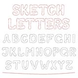 Hand drawn sketch alphabet. Stock Photography
