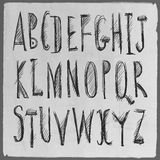 Hand drawn sketch alphabet. Royalty Free Stock Images