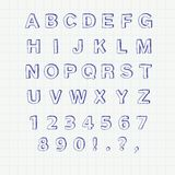 Hand drawn sketch alphabet. Handwritten font Royalty Free Stock Photo