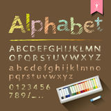 Hand drawn sketch alphabet and numbers Royalty Free Stock Photography