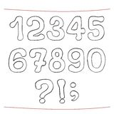 Hand drawn sketch alphabet. Numerals, punctuation Stock Photography