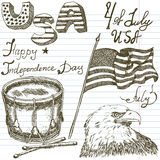 Hand drawn sketch American bald eagle drum and usa flag, forth of july set, text happy independence day, paper notebook background Stock Image