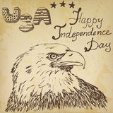 Hand drawn sketch American bald eagle, text happy independence day Royalty Free Stock Photography