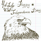 Hand drawn sketch American bald eagle, text happy independence day Stock Image