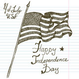 Hand drawn sketch American flag, USA Independence day, vector illustration Royalty Free Stock Photos