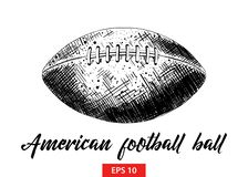 Hand drawn sketch of american football ball in black isolated on white background. Detailed vintage etching style drawing. stock illustration