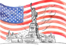 Hand drawn sketch of the American symbol statue of Liberty. Watercolor vector flag of USA. Royalty Free Stock Photo