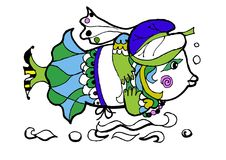 Fish in the hat,coloring page, freehand sketch, funny cartoon animals. Hand drawn sketch of animals.Coloring book page,black and white version illustration Royalty Free Stock Image