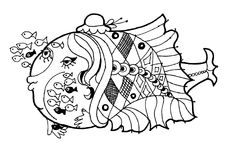 Fish nursery school, funny cartoon fish, blach and weit wersion coloring page. Hand drawn sketch of animals.Coloring book page,black and white version Royalty Free Stock Photography