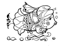 Fish - columbine ,coloring book, funny cartoon animals. Hand drawn sketch of animals.Coloring book page,black and white version illustration.  Can be Stock Image