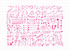 Hand drawn sketch arrow  collection Royalty Free Stock Images