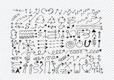 Hand drawn sketch arrow  collection Royalty Free Stock Image