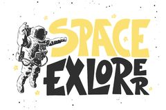 Hand drawn sketch of astronaut with modern lettering on white background. Space explorer stock illustration