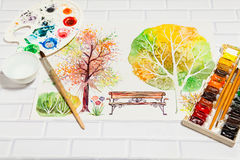 Hand Drawn Sketch of Autumn Square With Paints Royalty Free Stock Photos