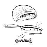 Hand drawn sketch of Bannock bread stock illustration