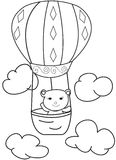 Hand drawn sketch of a bear in a hot air balloon. Cartoon coloring page of a girl bear in a hot air balloon with clouds in the sky Stock Image