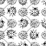 Hand drawn Sketch Beetles Seamless Pattern Royalty Free Stock Photo