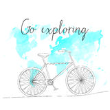 Hand drawn sketch bicycle on world map background Royalty Free Stock Photo