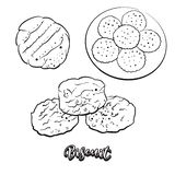 Hand drawn sketch of Biscuit bread royalty free illustration