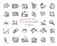 Hand-drawn sketch Business and Finance web icon set Stock Photos