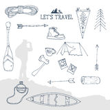 Hand drawn sketch camping icons set. Stock Photography