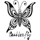 Hand drawn, sketch, cartoon illustration of butterfly Stock Photos
