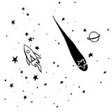 Hand drawn, sketch, cartoon illustration of rocket and stars Stock Photo