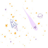 Hand drawn, sketch, cartoon illustration of rocket and stars Stock Images