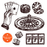 Hand Drawn Sketch Casino Collection Royalty Free Stock Images