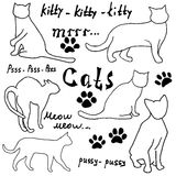 Hand drawn Sketch cats silhoets and traces. Outlined Doodles with Lettering. Vector Illustration Elements isolated on white backgr Royalty Free Stock Photography