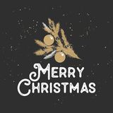 Hand drawn sketch Christmas and New Year holiday on dark background. Detailed vintage etching drawing. vector illustration