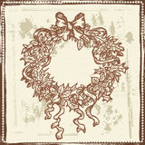 Hand drawn sketch of Christmas wreath Royalty Free Stock Image