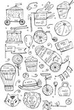 Hand drawn sketch circus and amusement vector illustrations. Vintage icons.Doodle design elements for banner, flyer, business, car Stock Photography