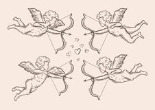 Hand-drawn sketch classic Cupid, angel. vector illustration Royalty Free Stock Photography
