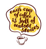 Hand drawn sketch with coffee cup and text message in conversation box. Stock Image