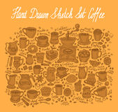 Hand-drawn sketch coffee set. vector illustration Royalty Free Stock Images