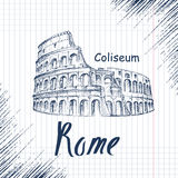 Hand drawn sketch of the Coliseum Royalty Free Stock Photos