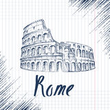 Hand drawn sketch of the Coliseum Royalty Free Stock Photo