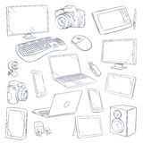 Hand drawn, sketch computer technology gadgets vector set Royalty Free Stock Images