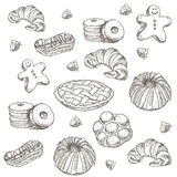 Hand drawn sketch confections dessert pastry Stock Photo