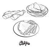 Hand drawn sketch of Crêpe bread royalty free illustration
