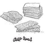 Hand drawn sketch of Crisp bread bread. Vector drawing of Crispy bread food, usually known in Scandinavia. Bread illustration series stock illustration