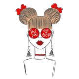 Hand drawn sketch of the cute fashion girl in red glasses. With quote Girl you are a boss. Fashion  illustration Stock Photos