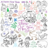Hand drawn Sketch design of happy new year 2016 Doodles with Lettering set, with christmas trees snowflakes, snowman, elfs, deer,. Santa claus and festive Stock Illustration