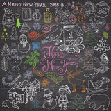Hand drawn Sketch design of happy new year 2016 Doodles with Lettering set, with christmas trees snowflakes, snowman, elfs, deer, Stock Photo