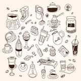 Hand drawn sketch doodle vintage simple coffee Stock Photos