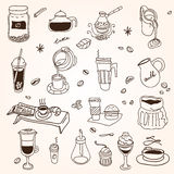 Hand drawn sketch doodle vintage simple coffee Stock Image
